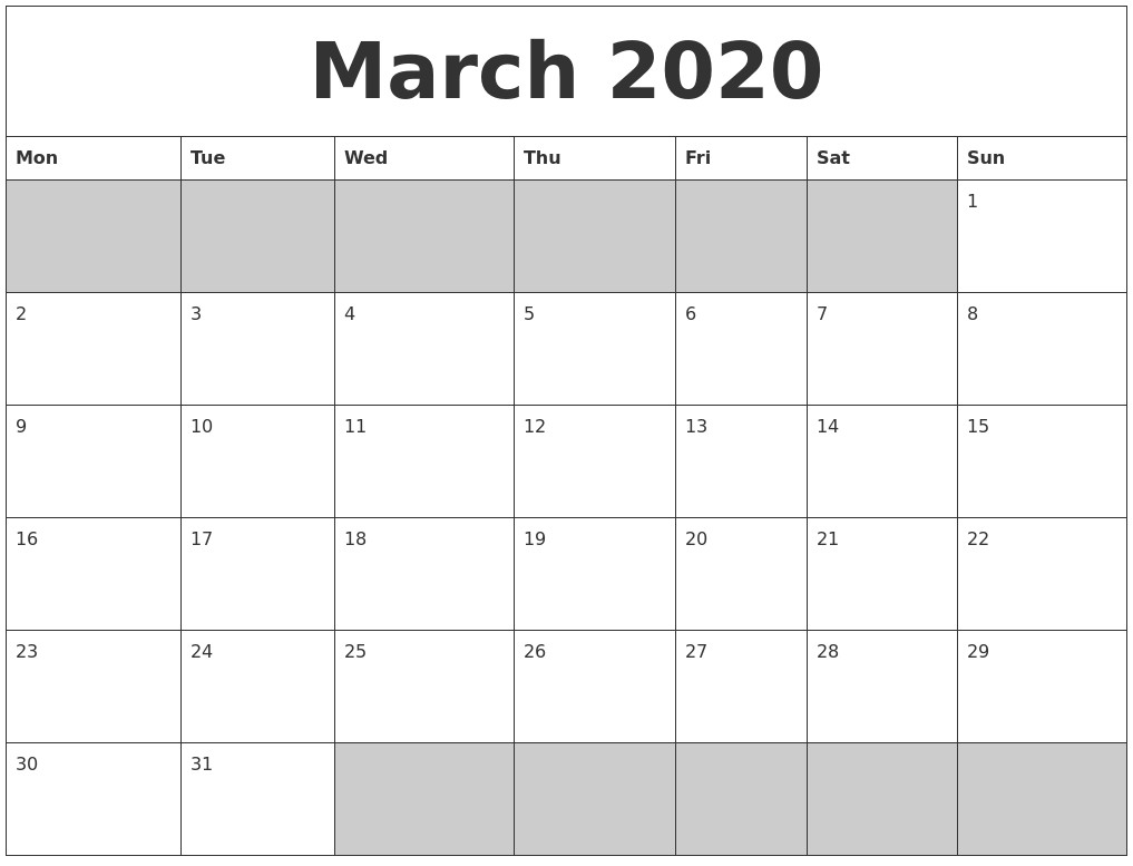 Blank Calendar 2020 Printable March 2020 Blank Printable Calendar