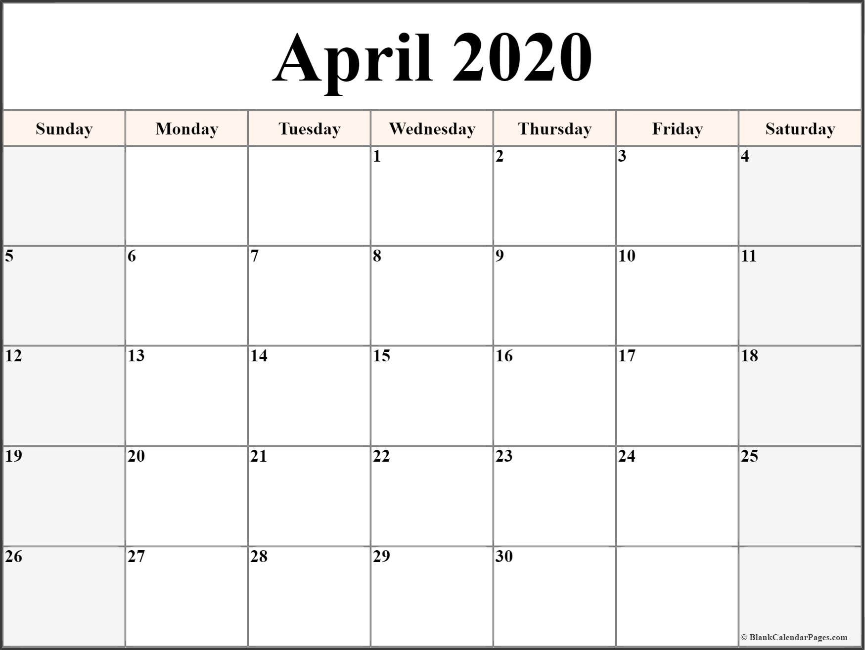 Blank Calendar Printable 2020 April 2020 Calendar