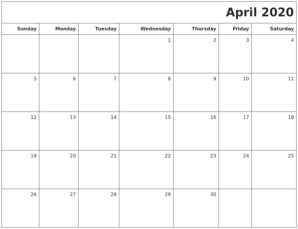 Blank Calendar Printable 2020 April 2020 Printable Blank Calendar