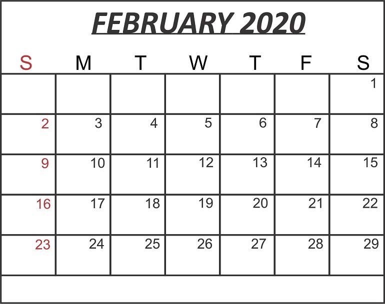 Free February 2020 Printable Calendar Templates in PDF