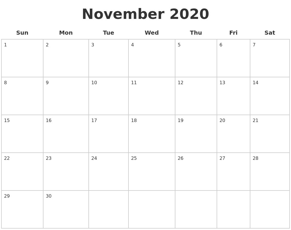 Blank Calendar Printable 2020 November 2020 Blank Calendar Pages