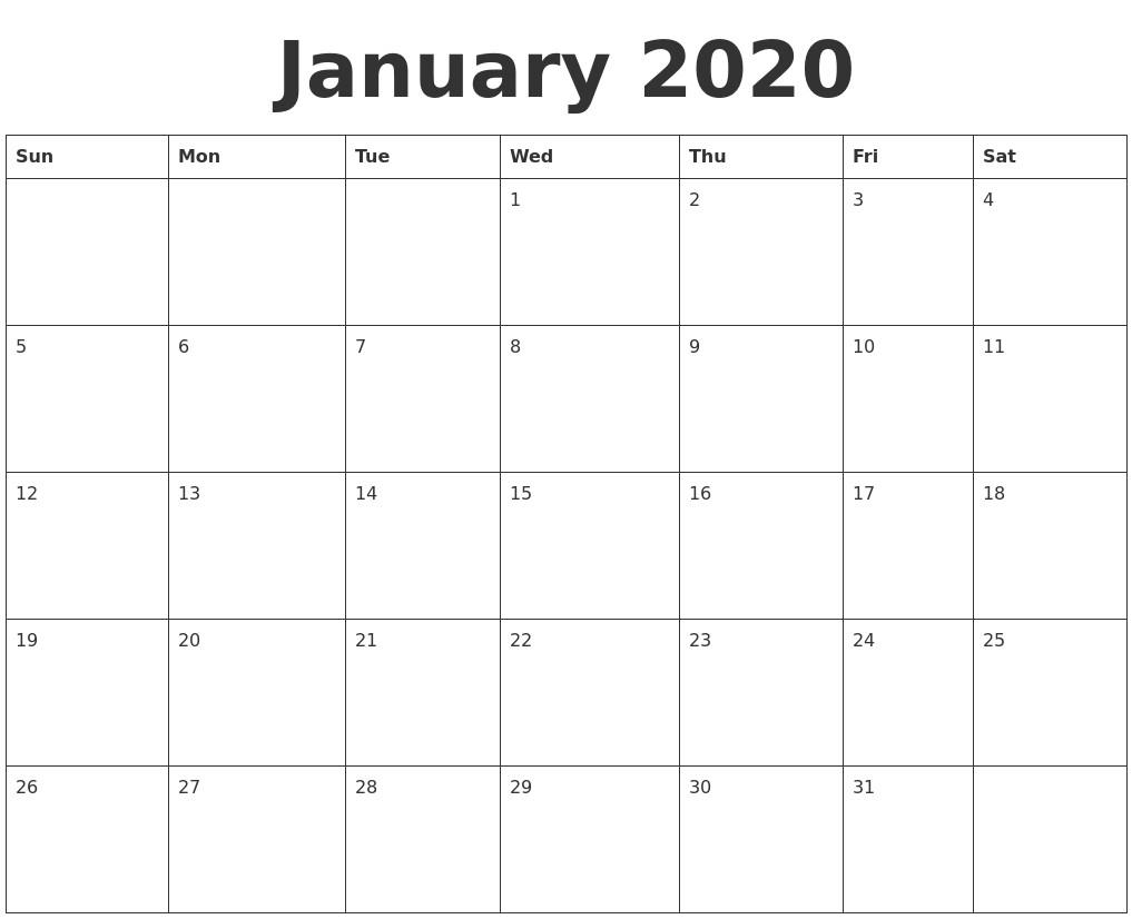 Blank Printable 2020 Calendar