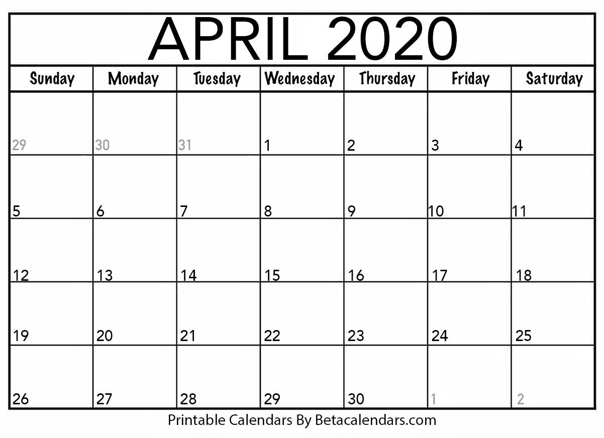 Blank Printable Calendars 2020 Blank April 2020 Calendar Printable Beta Calendars