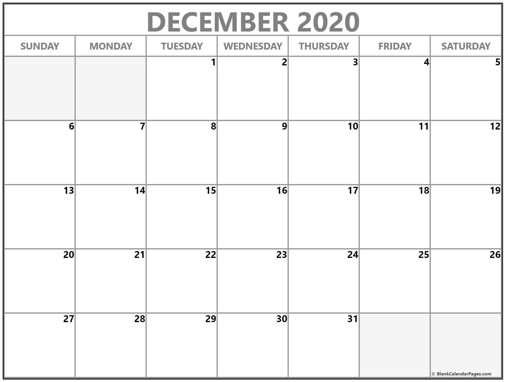 Blank Printable Calendars 2020 December 2020 Calendar
