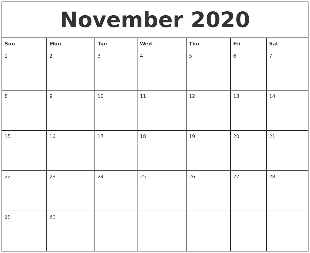 November 2020 Printable Monthly Calendar