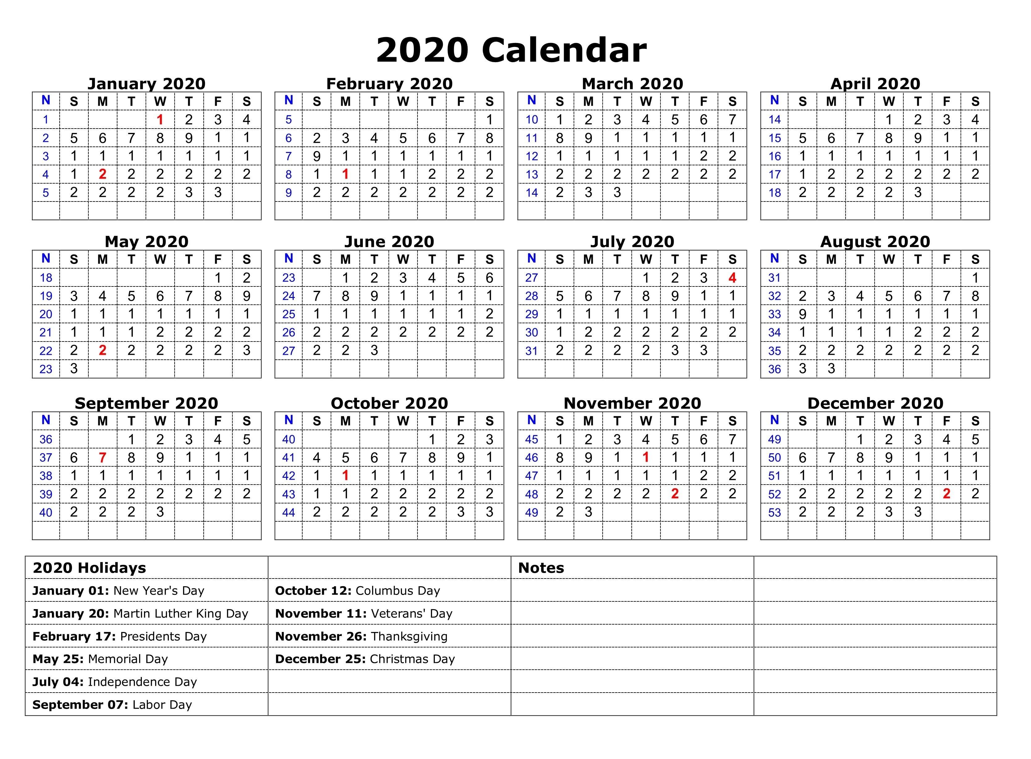 Calendar 2020 with Holidays Printable 2020 E Page Calendar Printable