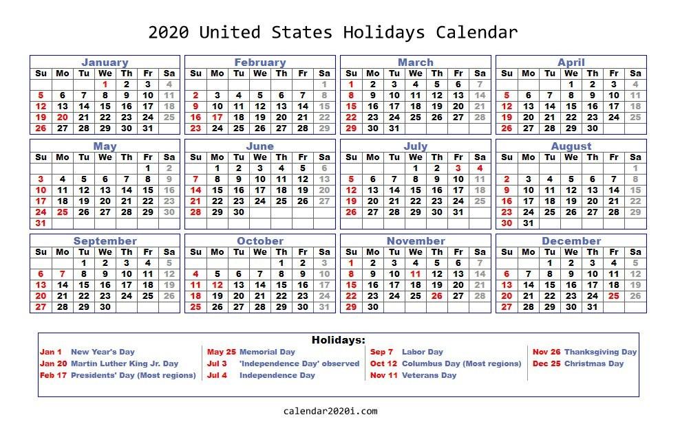 Calendar 2020 with Holidays Printable 2020 Holidays Calendar Printable [worldwide]
