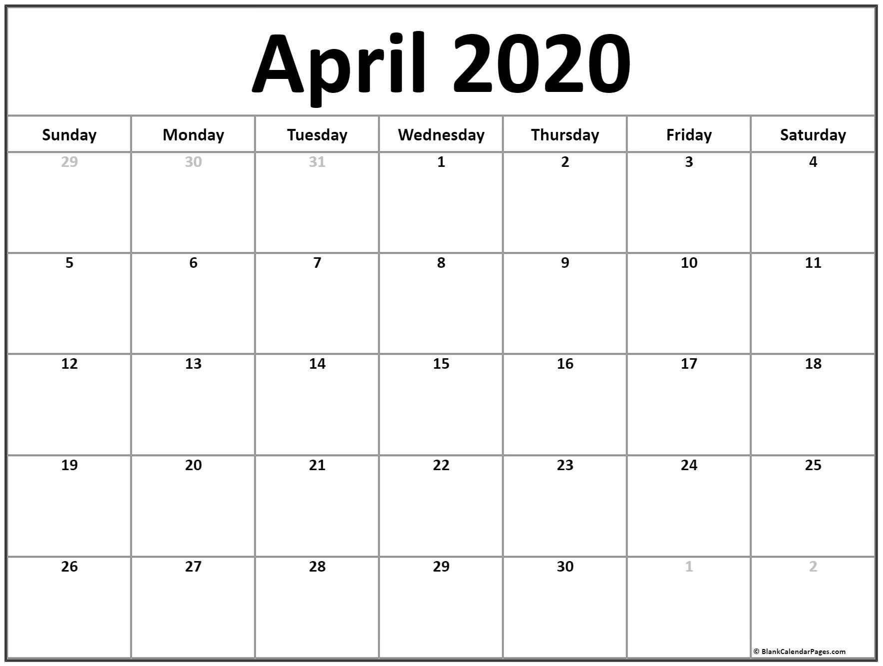Calendar April 2020 Printable April 2020 Calendar