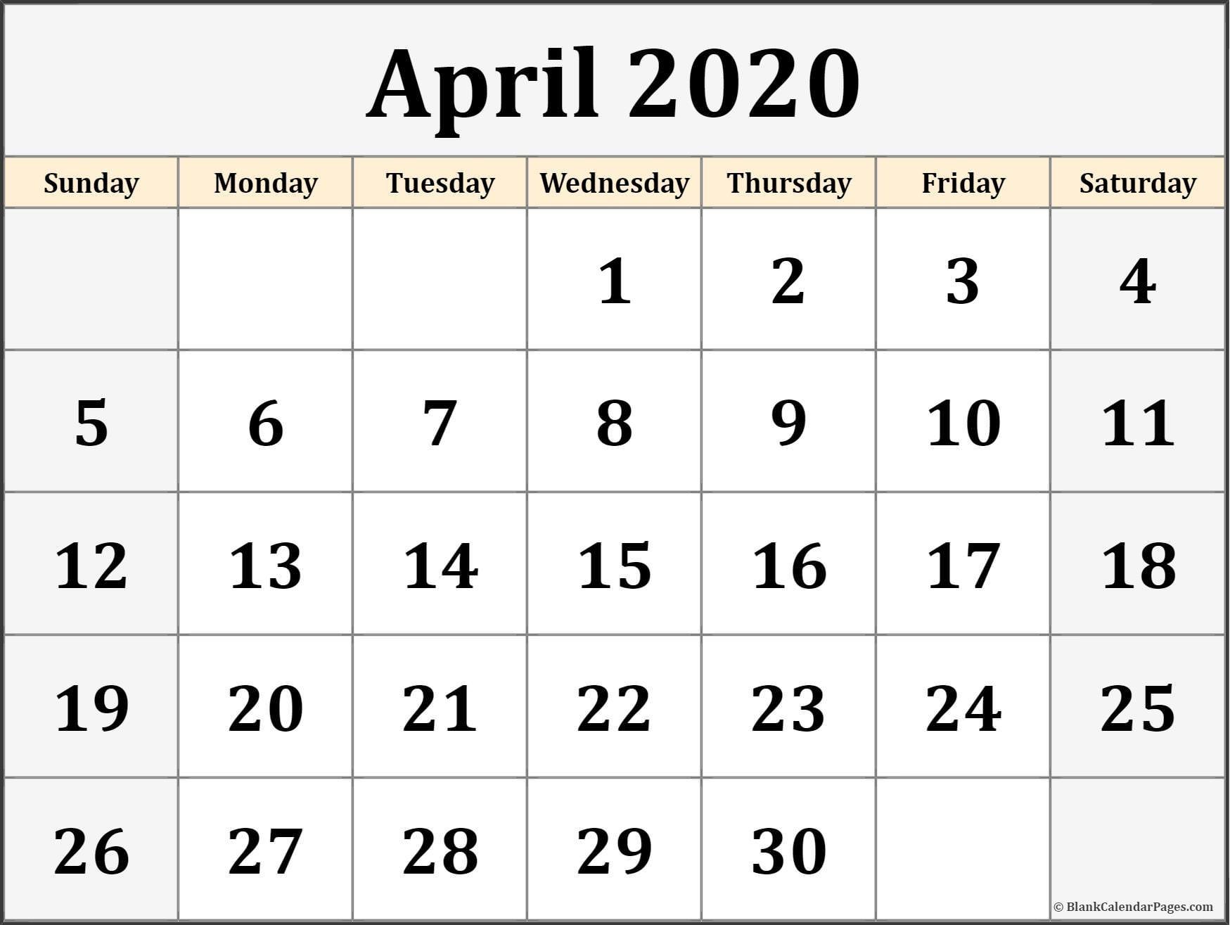 Calendar April 2020 Printable