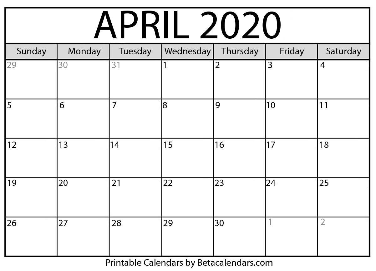 Blank April 2020 Calendar Printable Beta Calendars