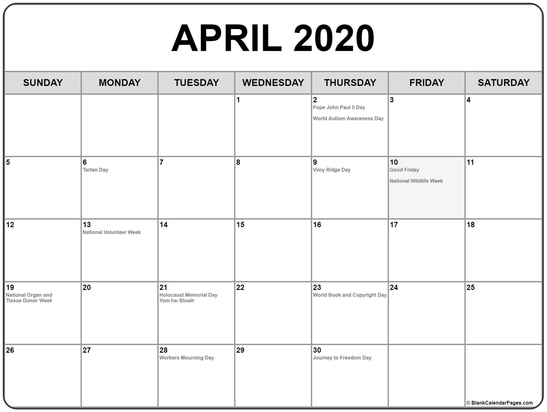 Calendar April 2020 Printable Collection Of April 2020 Calendars with Holidays