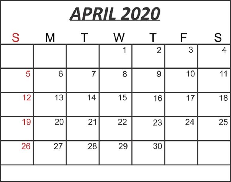 Calendar April 2020 Printable Free Blank April 2020 Calendar Printable In Pdf Word