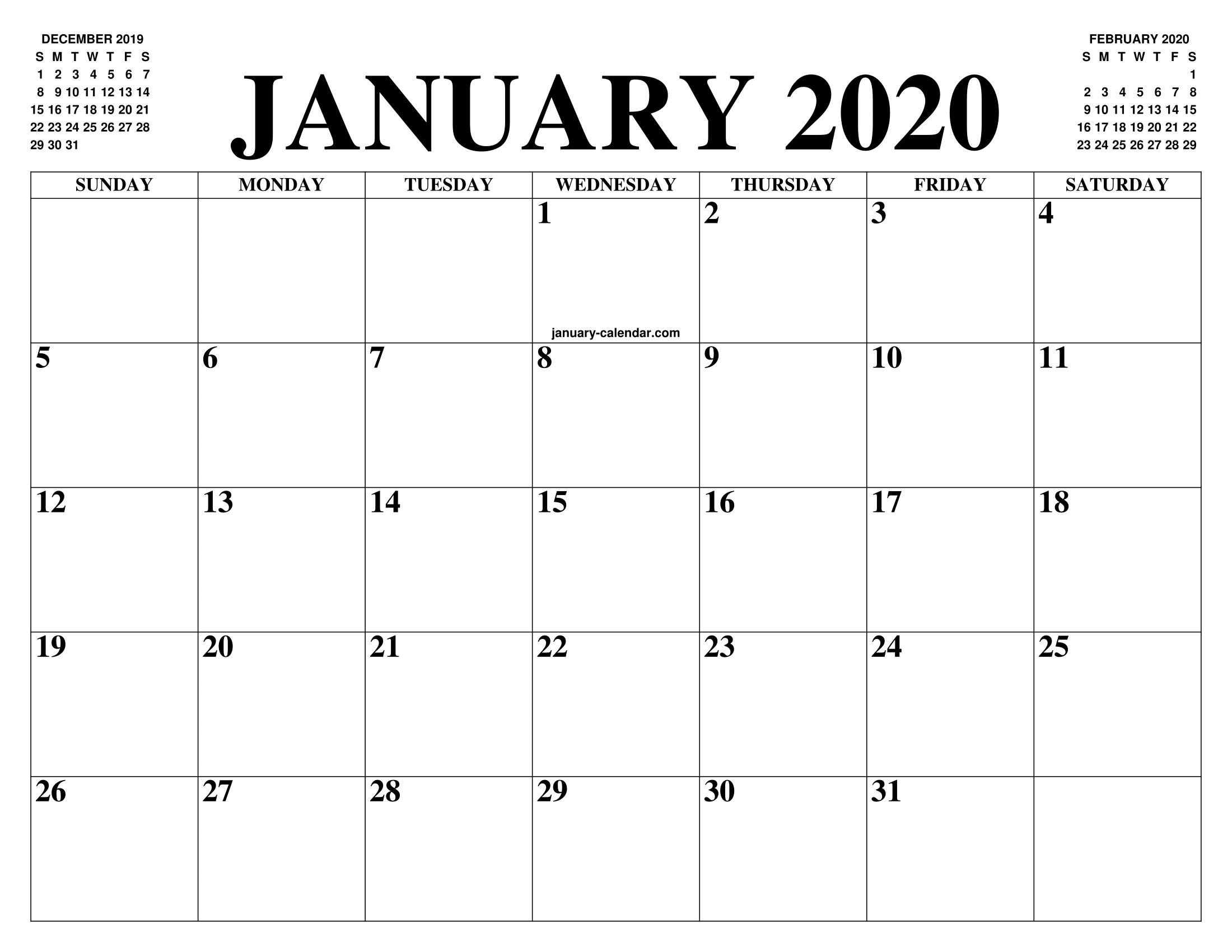 Calendar January 2020 Printable Free January 2020 Calendar Pdf Word Excel Printable Template