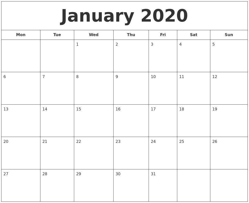 Calendar January 2020 Printable January 2020 Printable Calendar