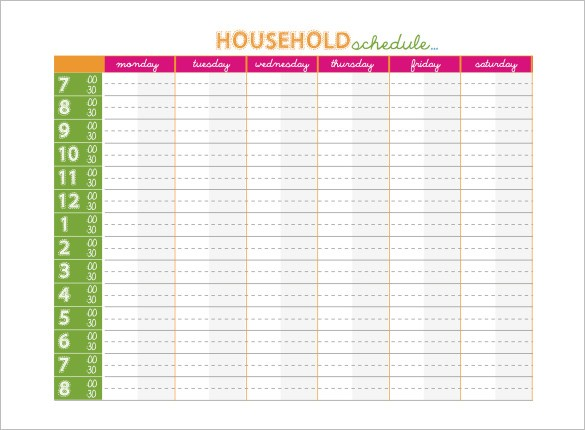 14 Family Schedule Templates Word PDF