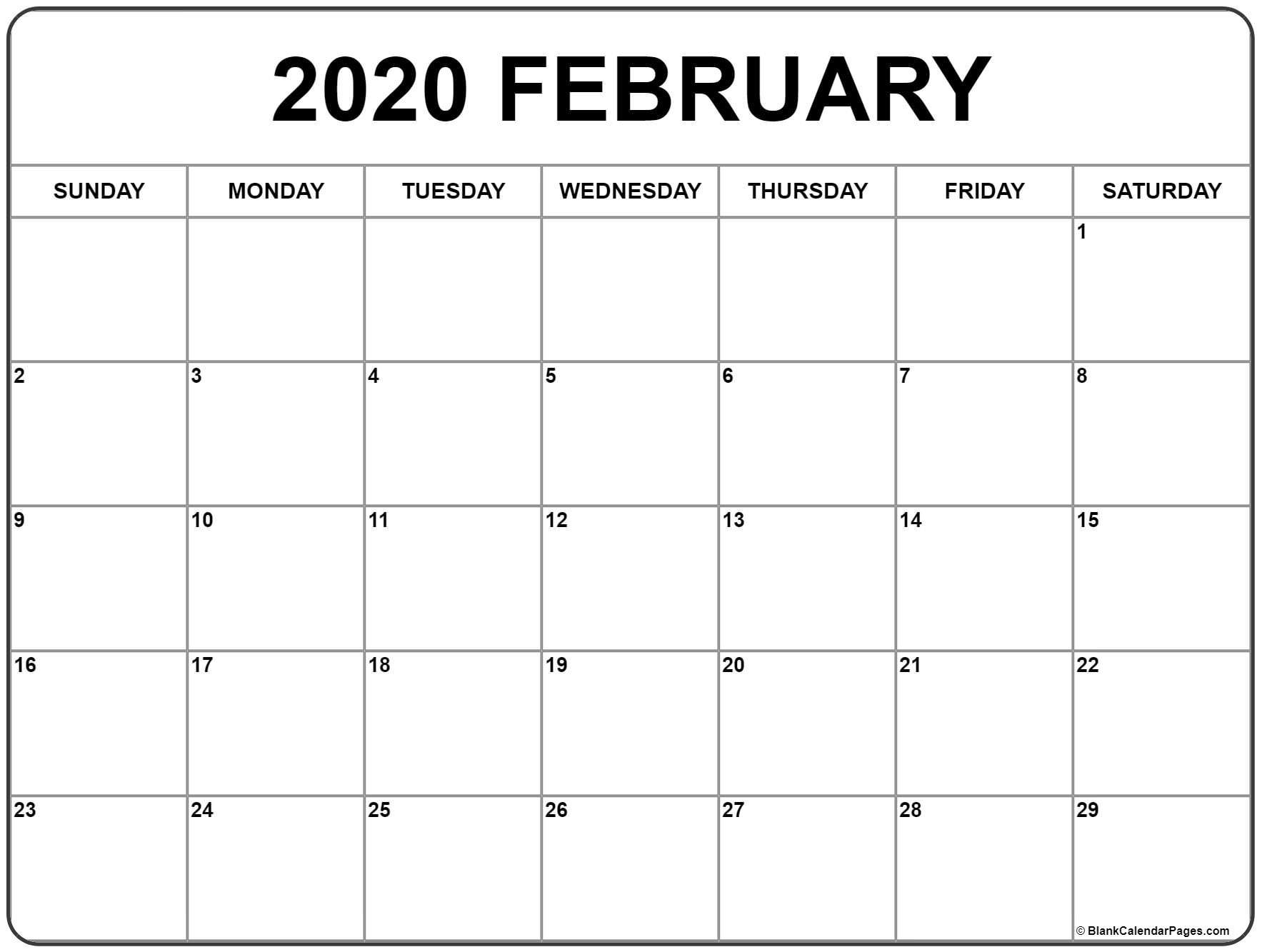 Feb 2020 Calendar Printable February 2020 Calendar