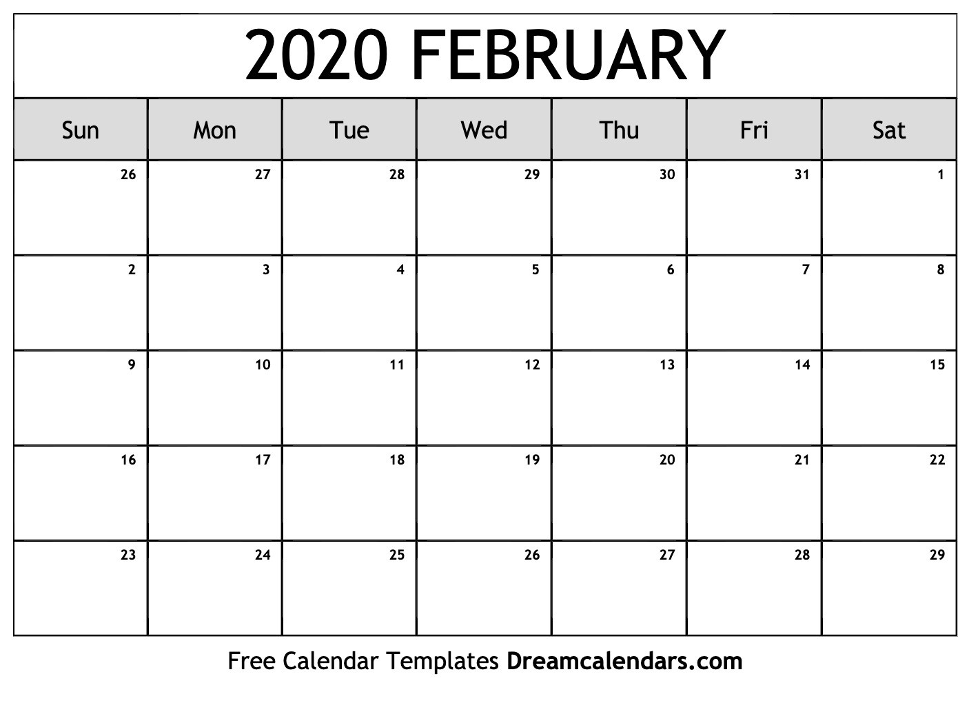 Feb 2020 Calendar Printable Free Blank February 2020 Printable Calendar