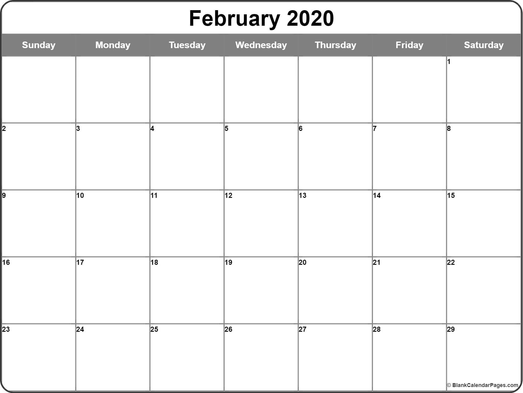 Free February 2020 Calendar Printable Leap Year Blank