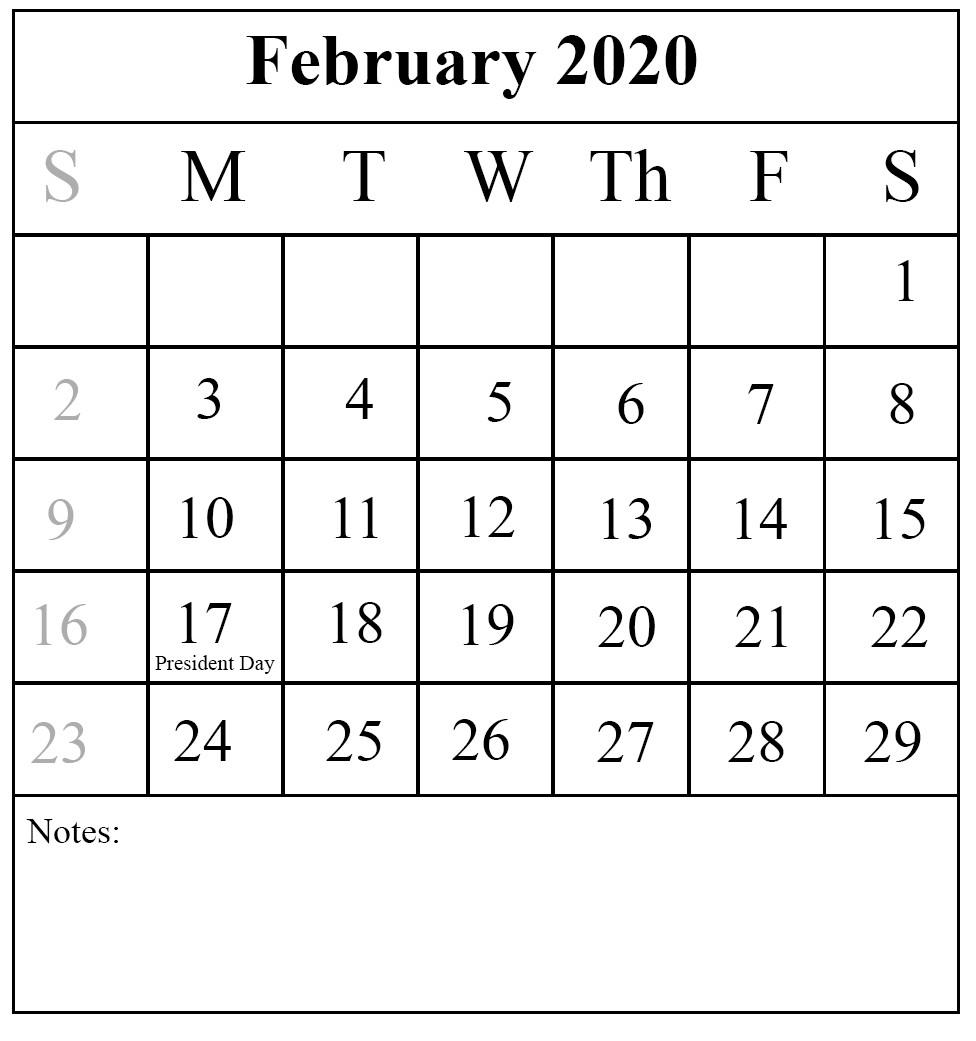 February 2020 Printable Calendar Free Free Printable February 2020 Calendar In Pdf Excel & Word