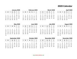 Free 2020 Calendar Printable Yearly Calendar 2020