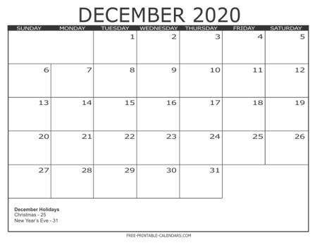 2020 Calendar Templates Free Printable Calendars