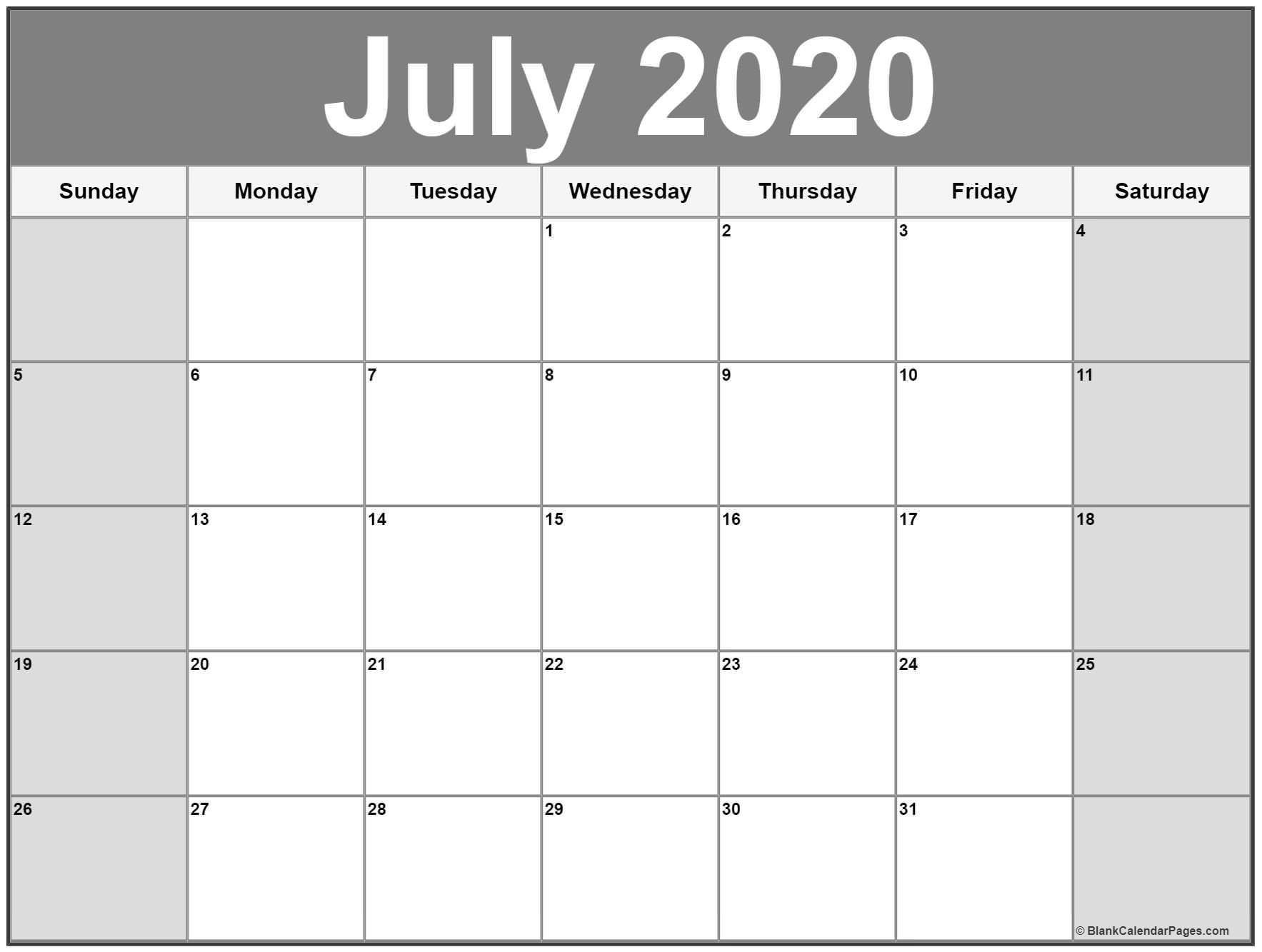 Free 2020 Printable Calendars July 2020 Calendar