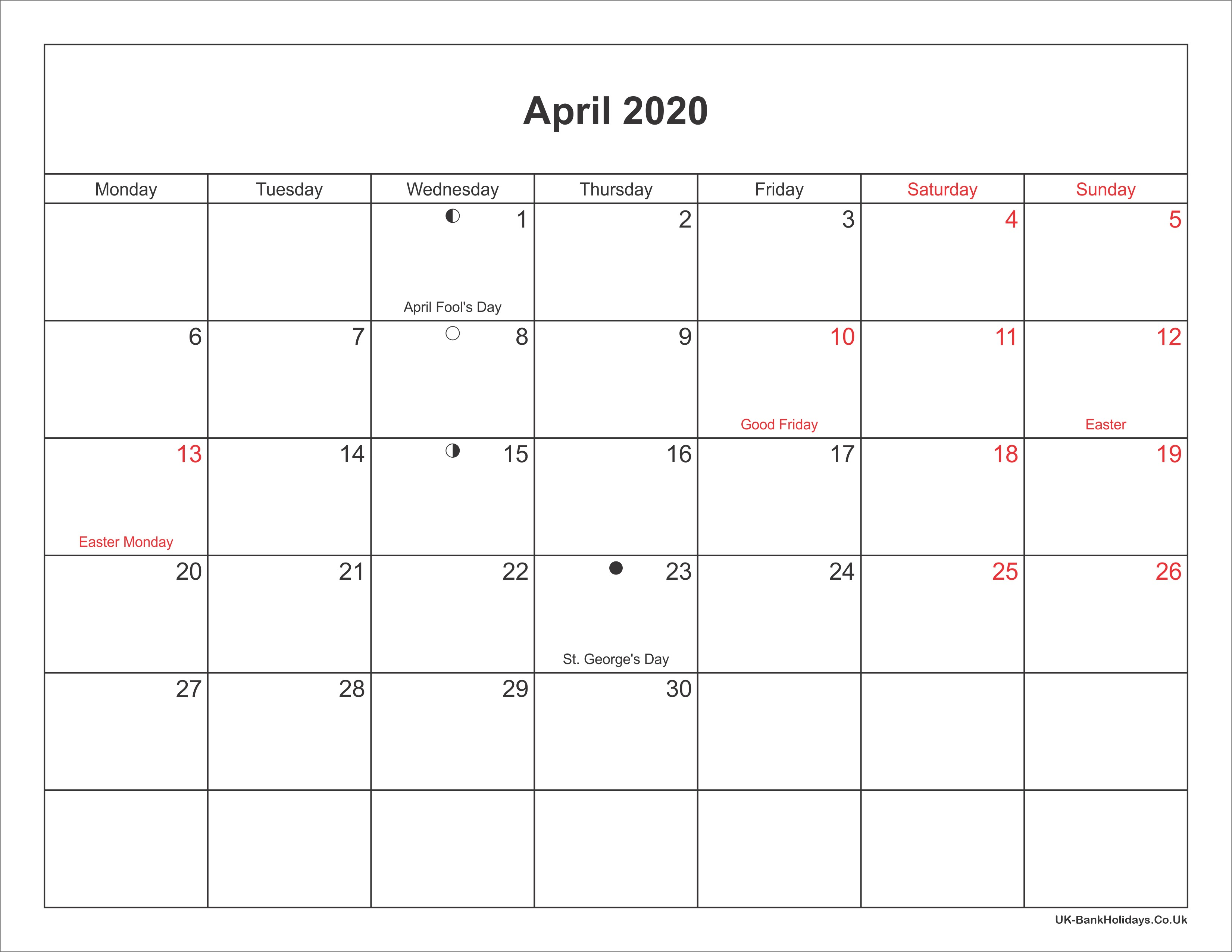 Free Printable 2020 Calendar Pdf April 2020 Calendar Printable with Bank Holidays Uk