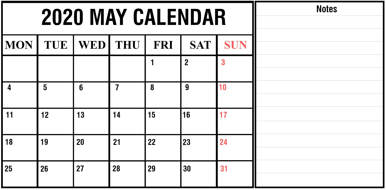 Download Free Blank May 2020 Printable Calendar [PDF