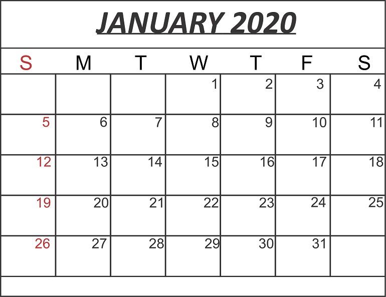 Free January 2020 Printable Calendar Template in PDF Word