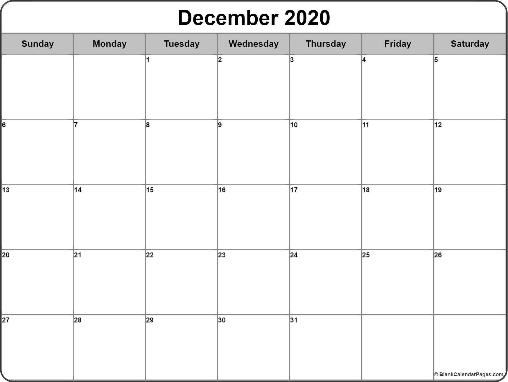 Free Printable Calendar 2020 Monthly December 2020 Calendar