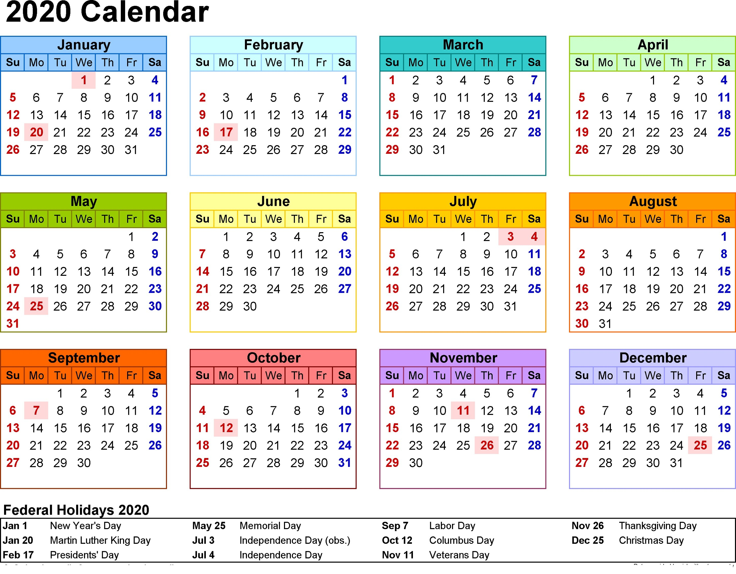 2020 Calendar Printable With Holidays And Notes