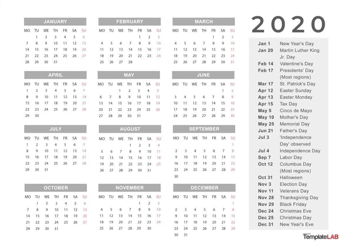 Free Printable Calendar 2020 with Holidays 2020 Calender with Space to Write Calendar Inspiration