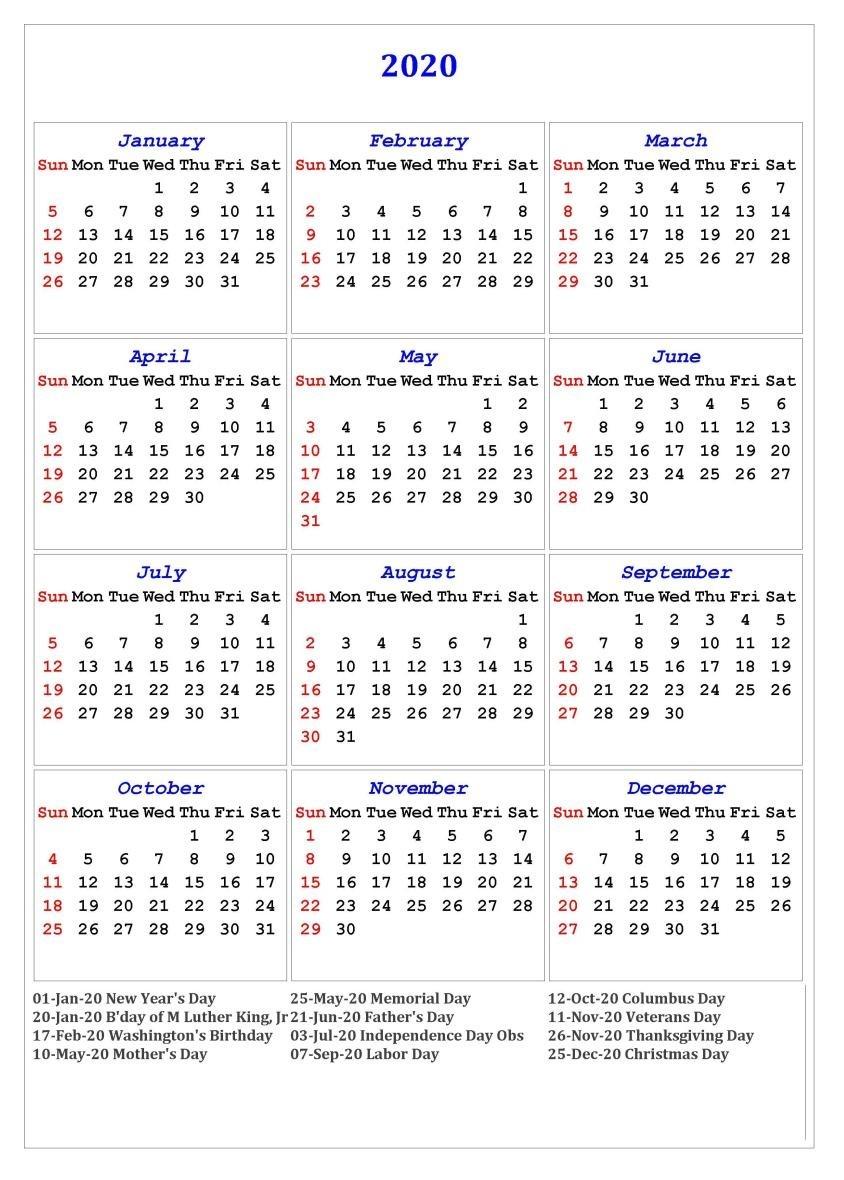 Free Printable Calendar 2020 with Holidays 2020 E Page Calendar Printable