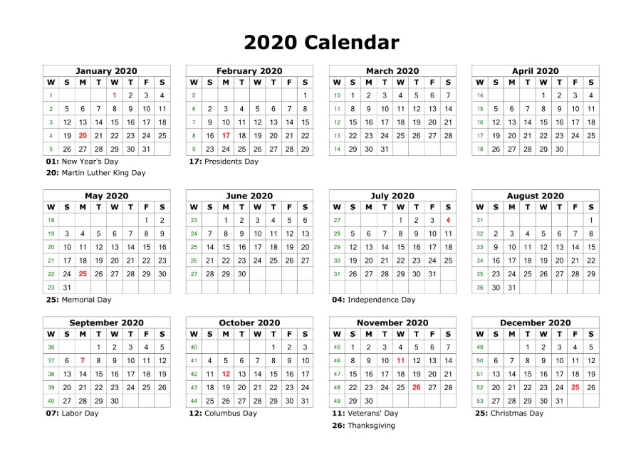 Printable 2020 Calendar Free Blank Templates Calendar