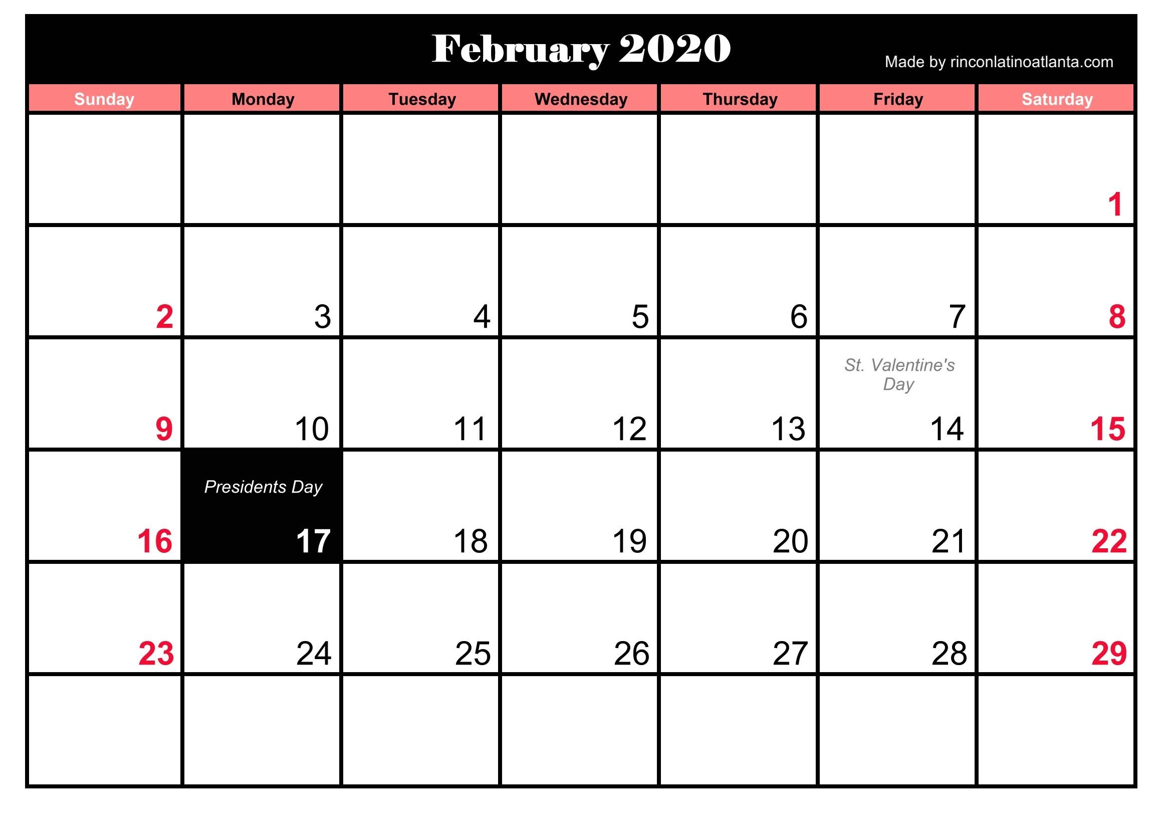 Printable Frebruary 2020 Calendar With Holidays