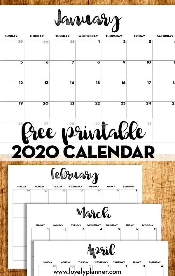 2020 Calendar Printable Free Template Lovely Planner