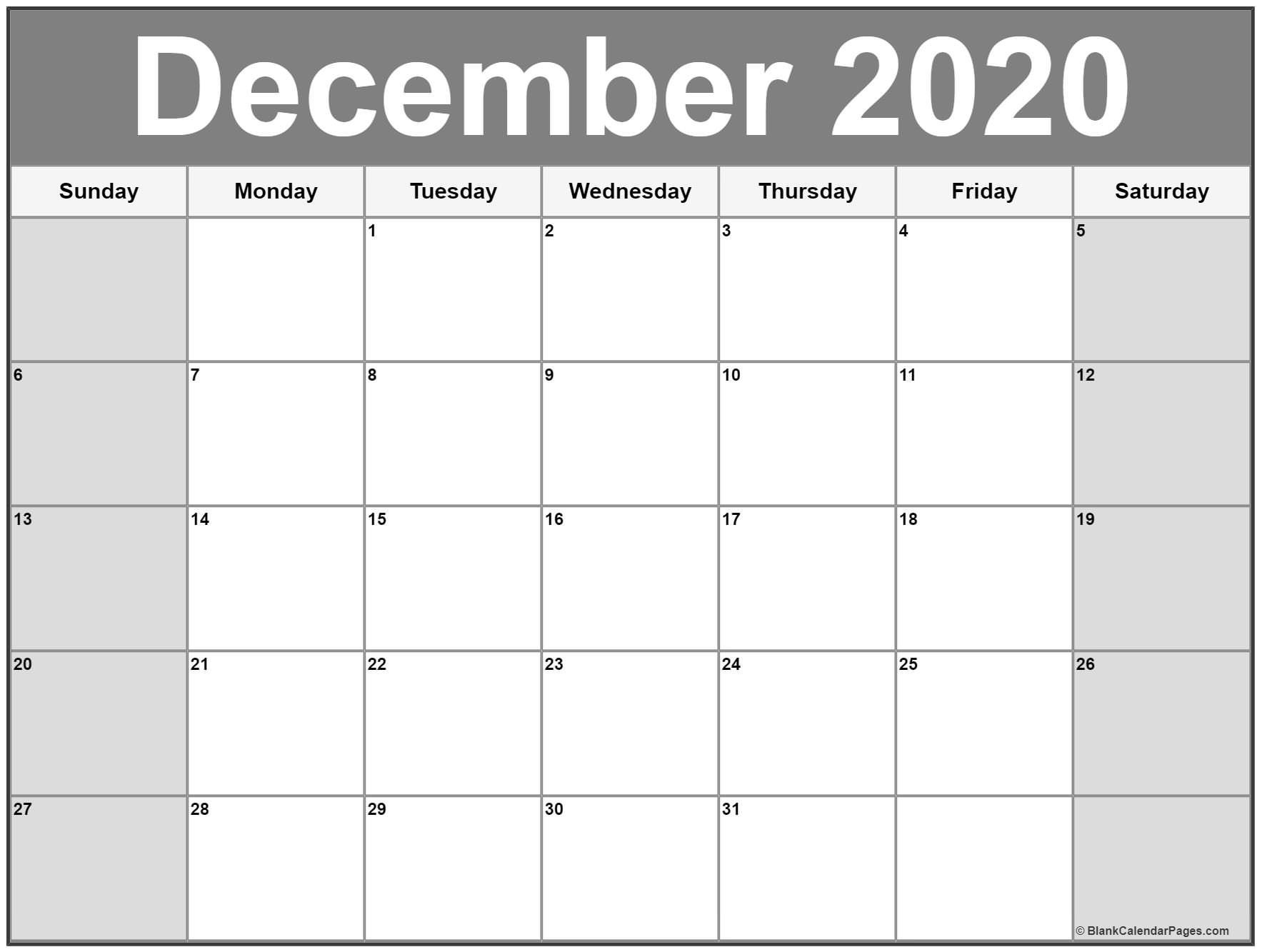 Free Printable Calendar Pages 2020 December 2020 Calendar