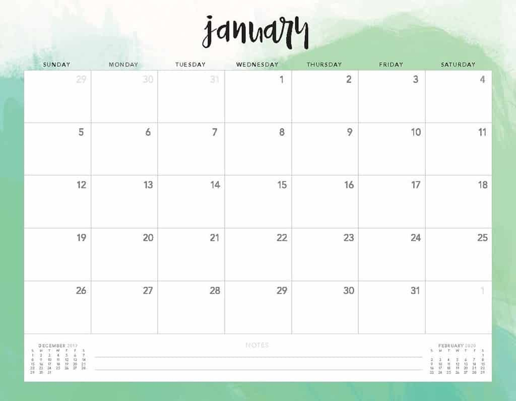 Free Printable Calendar Pages 2020