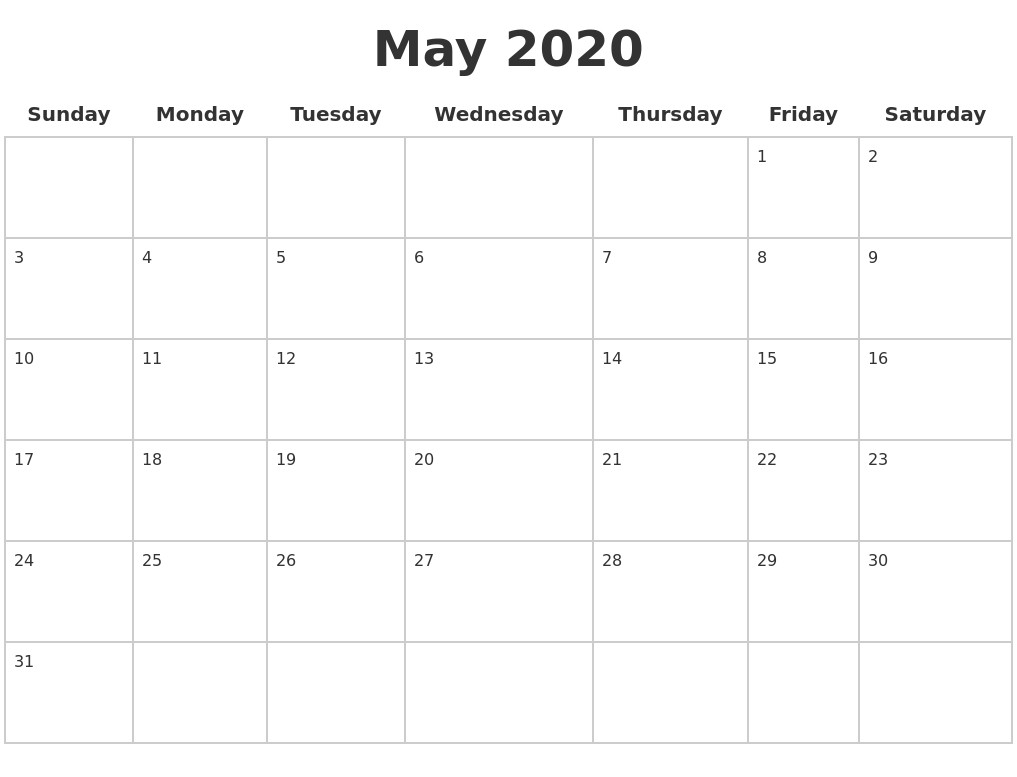 May 2020 Blank Calendar Pages