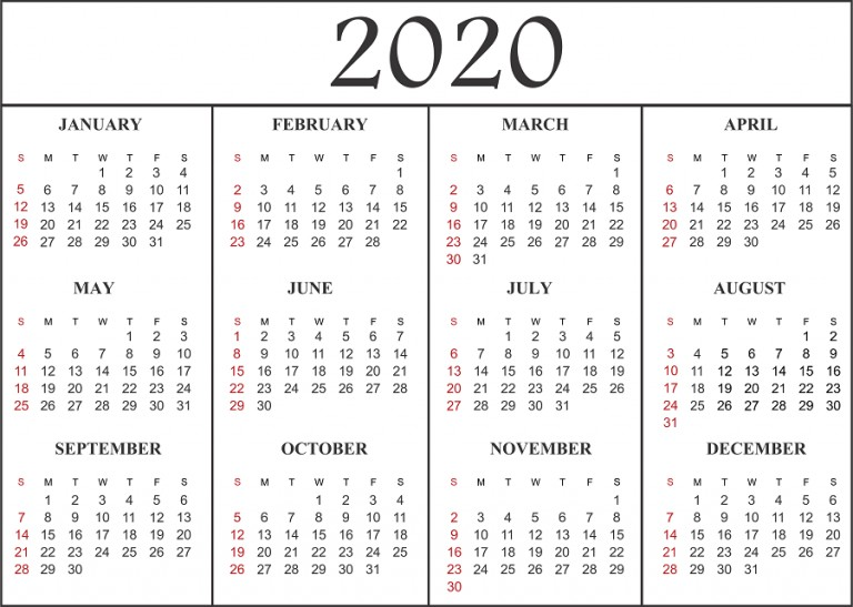 Free Printable Calendar Template 2020