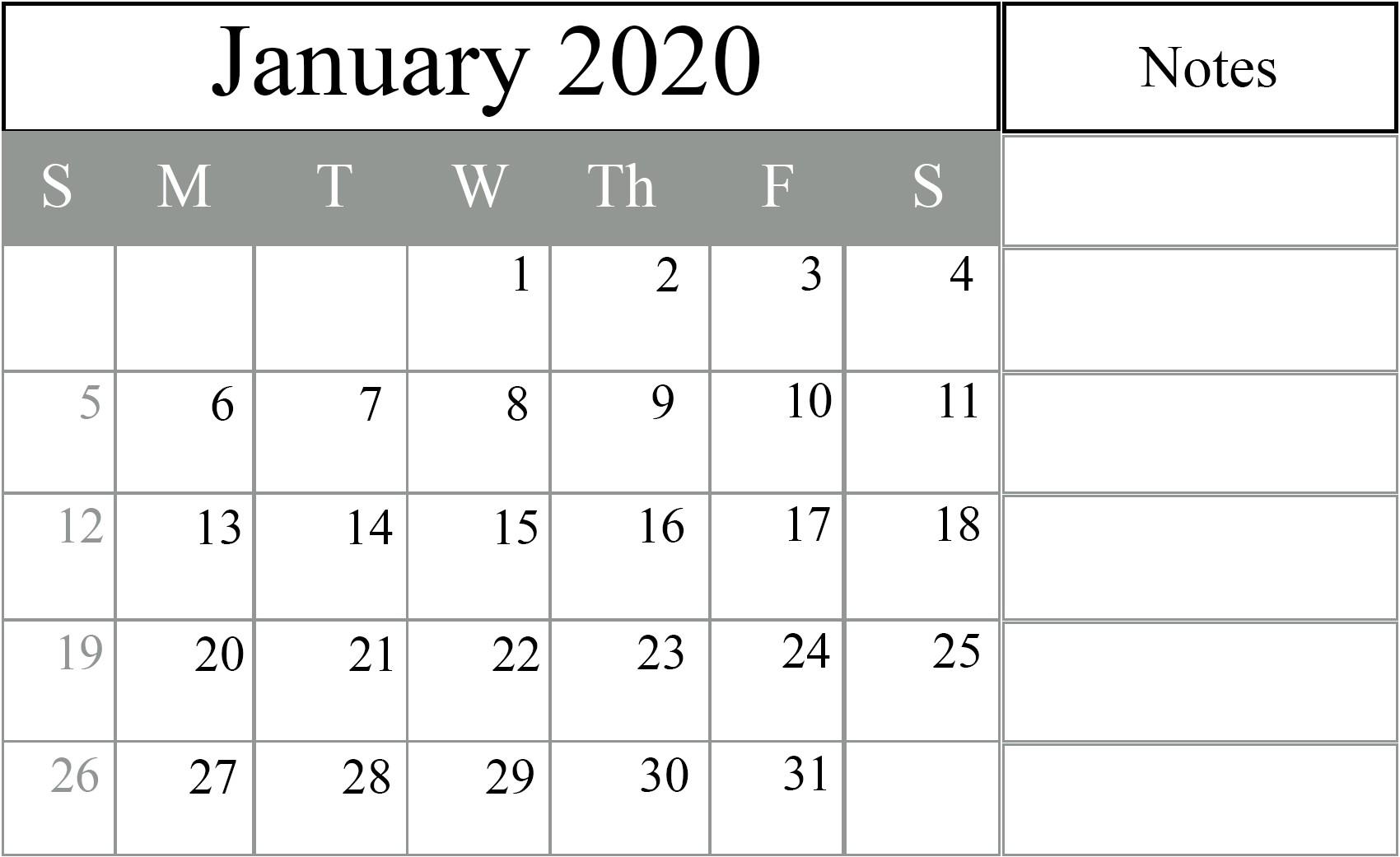 Free Printable Calendar Templates 2020