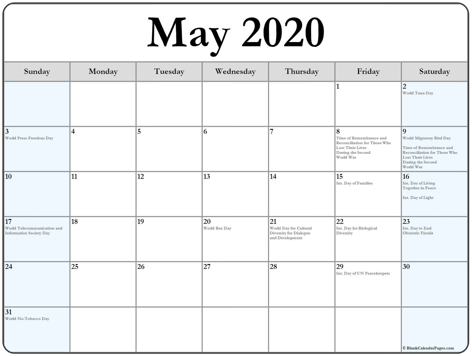 Free Printable Monthly Calendar 2020 with Holidays Collection Of May 2020 Calendars with Holidays