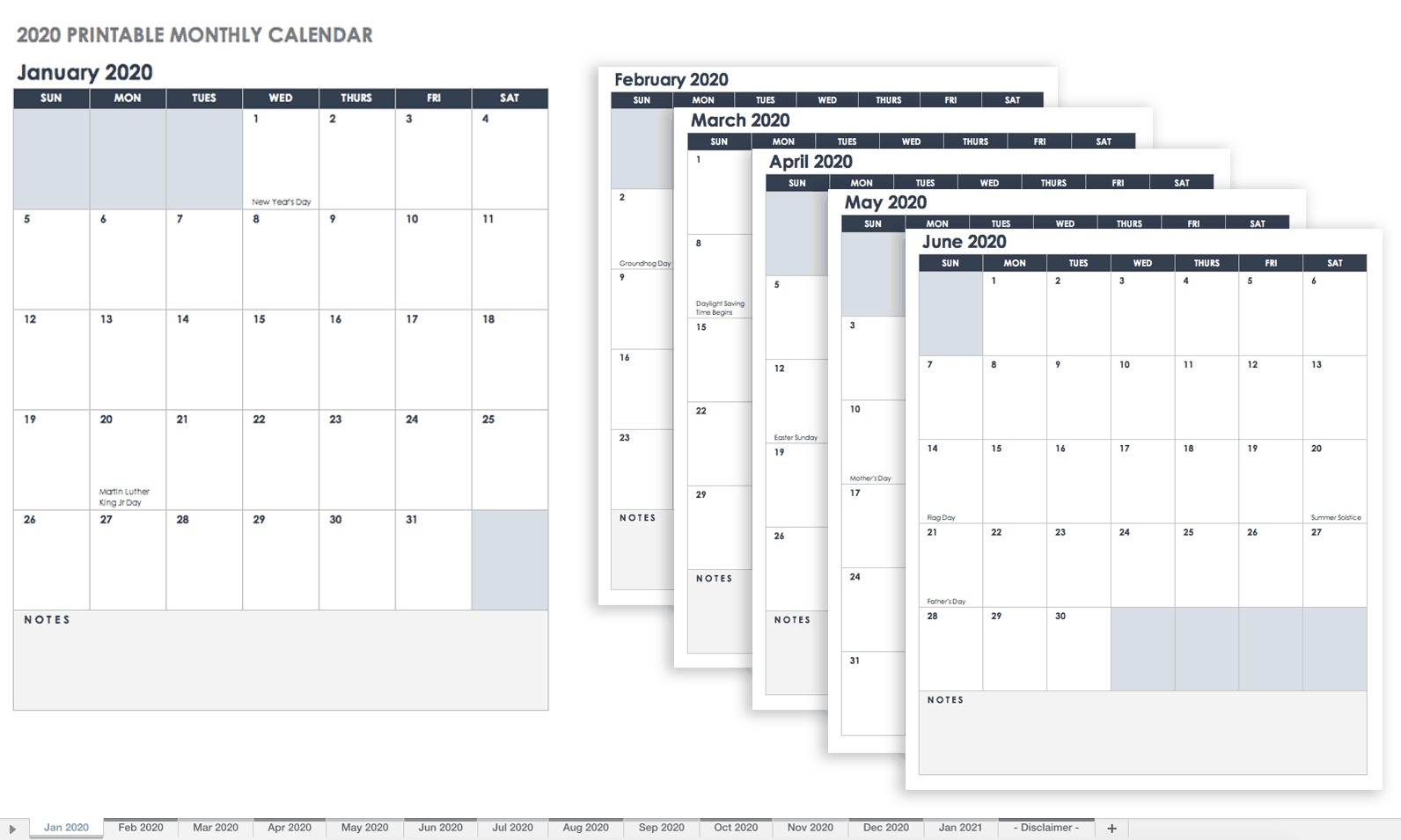 Free Printable Monthly Calendar 2020 with Holidays Free Printable Excel Calendar Templates for 2019 &