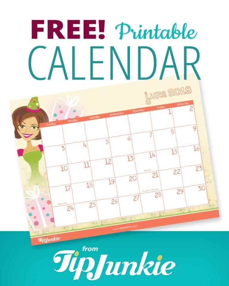 Free Printable 2018 Calendar by Tip Junkie – Tip Junkie