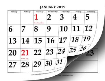 Printable 2019 Calendar with Print