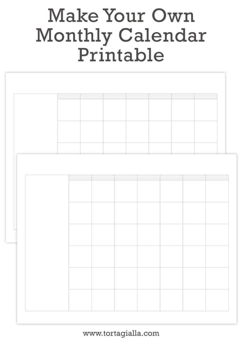 Make Your Own Calendar Printable