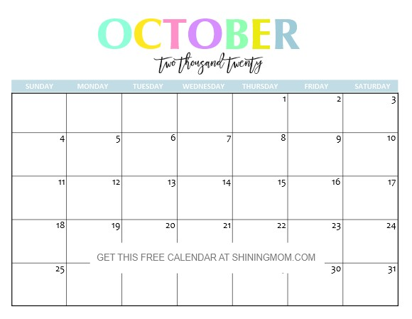 October 2020 Calendar Free Printable Free Printable 2020 Calendar so Beautiful & Colorful