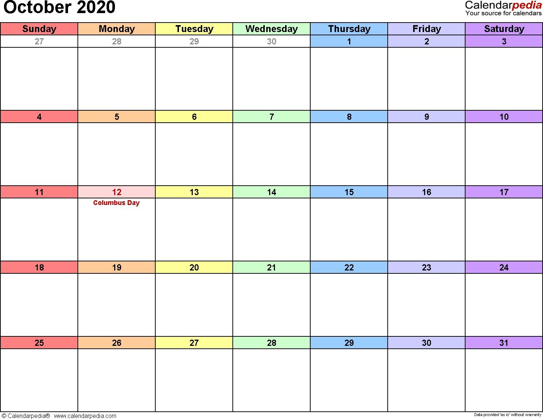 October 2020 Calendars for Word Excel & PDF