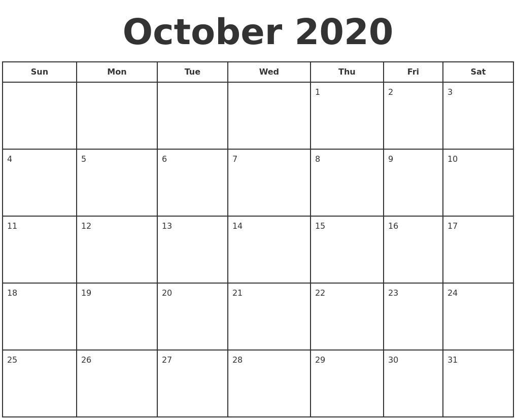 October 2020 Print A Calendar