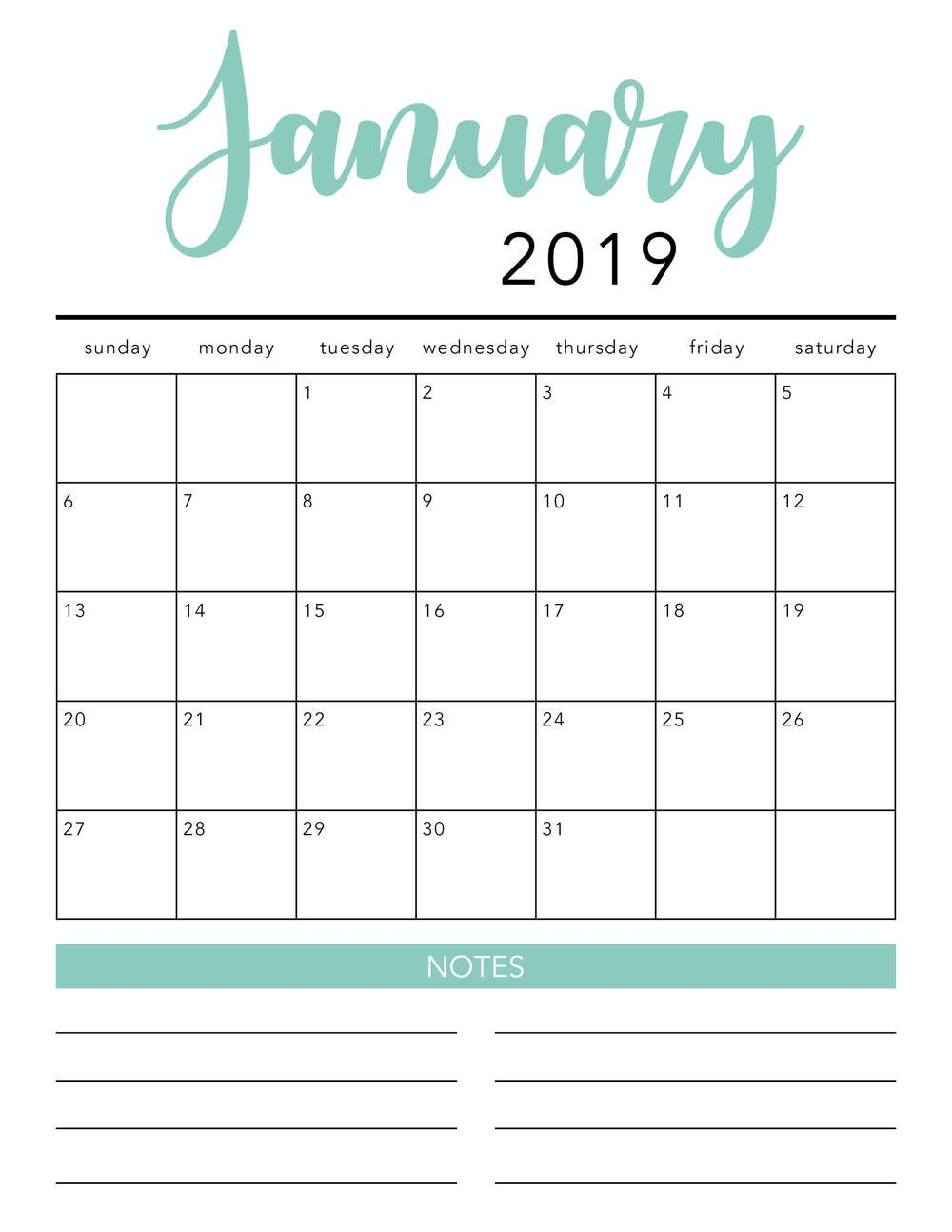 Online Printable Calendar 2020 Free 2019 Printable Calendar Template 2 Colors I